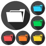 File, folder icons set with long shadow. Vector icon Stock Images