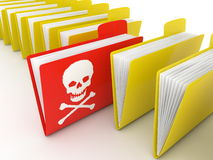 File folder infected by computer virus. Computer render with white background Royalty Free Stock Photos