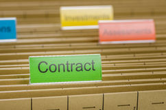 File folder labeled with Contract Stock Image