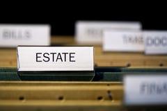 File folder labeled estate Stock Images