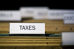 File folder labeled taxes Stock Image