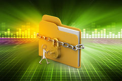 File folder locked with chain. In color background Royalty Free Stock Photography