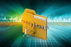 File folder locked with chain. In color background Stock Photos