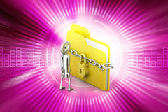 File folder locked with chain Stock Images