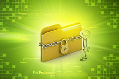 File folder locked with chain. In color background Stock Photography