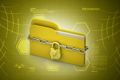 File folder locked with chain. In color background Stock Images