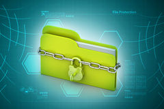 File folder locked with chain. In color background Royalty Free Stock Image