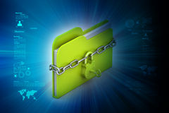 File folder locked with chain. In color background Stock Photo