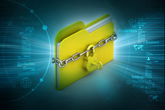 File folder locked with chain. In color background Royalty Free Stock Photo