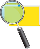 File Folder and Magnifier. Over white Stock Images