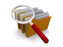 File folder magnifying glass. 3D rendering of several file folders and a magnifying glass.  Theme:  File search Royalty Free Stock Photo