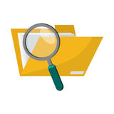 File folder and magnifying glass  icon. Flat design file folder and magnifying glass  icon vector illustration Stock Photos