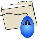 File folder and mouse. File folder with computer mouse on top Stock Image