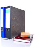 File folder, notebook, notes block and pen Stock Photos