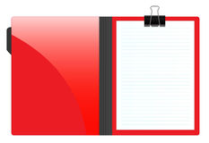 File folder with paper. Illustration of an open file folder with a blank striped page Stock Image