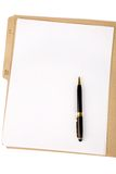 File folder and pen Stock Photography