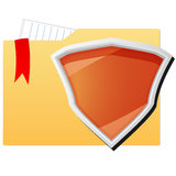 File folder protected by orange shield Royalty Free Stock Photography