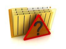 File folder with question symbol. 3d image renderer Royalty Free Stock Image