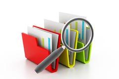 File folder search. 3d illustration of File folder search Stock Image