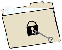 File folder with security. File folder with protected with lock and key Stock Images