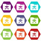 File folder with a skull icon set color hexahedron. File folder with a skull icon set many color hexahedron isolated on white vector illustration Stock Photos