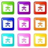 File folder with a skull icons 9 set Royalty Free Stock Photos