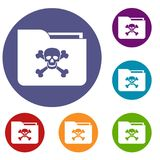 File folder with a skull icons set Royalty Free Stock Images