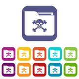 File folder with a skull icons set. Vector illustration in flat style In colors red, blue, green and other Royalty Free Stock Image