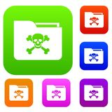 File folder with a skull set collection. File folder with a skull set icon in different colors isolated vector illustration. Premium collection Stock Photo