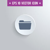File folder symbol icon on gray shaded background. Stylish file folder icon. Blue colored symbol on a white circle with shadow on a gray background. EPS10 with Stock Photography