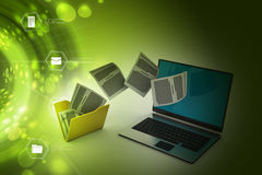 File folder transfer. In color background Stock Image