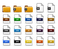 File Folder Web Icon Design. A set of file types and folders Stock Photo