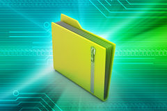 File folder with zip. In color background Royalty Free Stock Photos