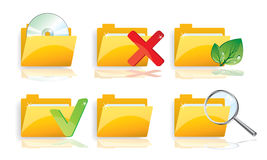 File folders. 6  illustrated file folders Royalty Free Stock Image
