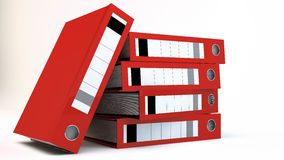 File Folders. Stack of red File folders over white background Stock Photo