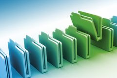 File folders. A view of a row of digitally illustrated, 3-D rendered, business file folders with one folder pulled up and slightly open Royalty Free Stock Photography