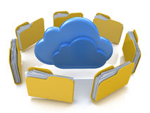 File folders around clouds. In the design of the information related to computer technology Stock Photography