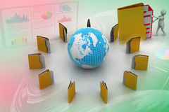 File folders around Earth Royalty Free Stock Image