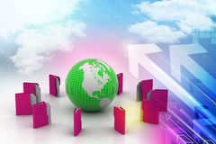 File folders around Earth Royalty Free Stock Photography