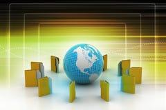 File folders around Earth Stock Photo