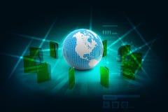 File folders around Earth Royalty Free Stock Image