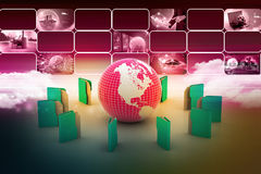 File folders around Earth. In color background Stock Images