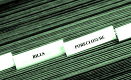 File Folders for Bills and Foreclosure Royalty Free Stock Photos