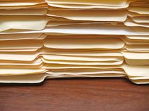 File folders on a desk stock images