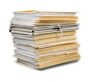 File folders with documents isolated on white royalty free stock photo