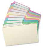 File Folders Fanned. Multi-colored file folders fanned on a white background with blank labels Royalty Free Stock Photos
