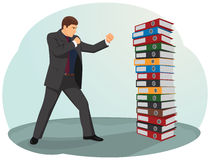 File folders fight. Businessman is fighting against the file folders stack Stock Photos
