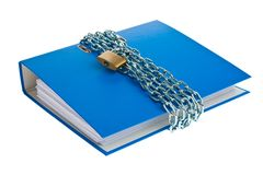 File folders locked with chain. A file folder with chain and padlock closed. Privacy and data security Royalty Free Stock Photography