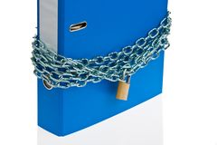 File folders locked with chain Stock Photos