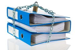File folders locked with chain Royalty Free Stock Images